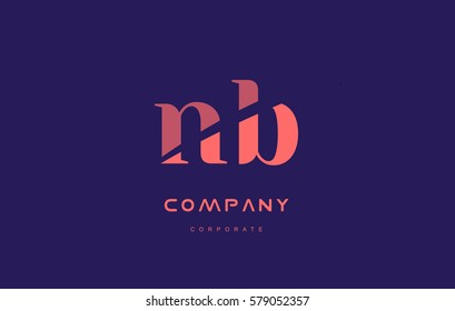 b n nb alphabet small letter blue pink creative design vector company logo icon template