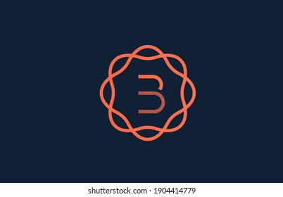 B orange monogram floral alphabet letter logo for company and business. Branding for corporate identity. Creative lettering icon for design