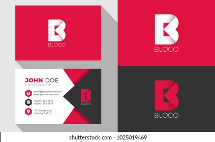 B Origami Style Letter Logo With Professional Business Card