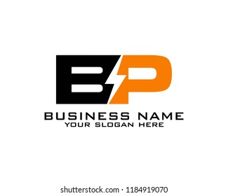 B P Initial logo concept with electric template vector