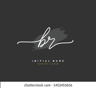 B R BR Beauty vector initial logo, handwriting logo of initial signature, wedding, fashion, jewerly, boutique, floral and botanical with creative template for any company or business.