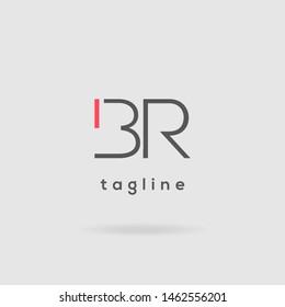 B R double letter logo design vector template