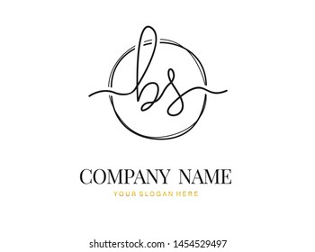 B S BS Initial handwriting logo design with circle. Beautyful design handwritten logo for fashion, team, wedding, luxury logo.