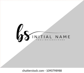 B S Initial handwriting logo vector. Hand lettering for designs.
