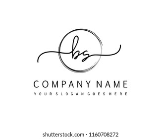 B S Initial handwriting logo vector