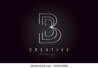 B Silver Letter Logo Monogram Vector Design. Creative B Silver Metal Steel Letter Icon Vector Illustration.