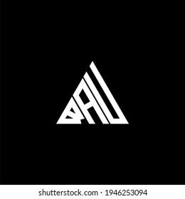 B A U letter logo creative design on black color background. BAU icon