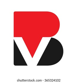 b and v logo vector.