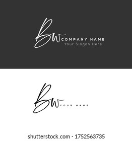 B W BW Initial letter handwriting and signature logo.