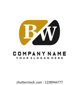 B W Initial handwriting logo vector