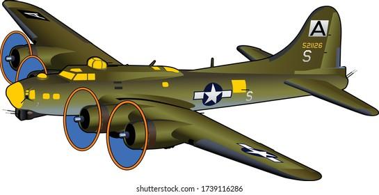 B-17 Flying Fortress World War II American Bomber Airplane