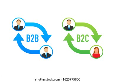 B2B and B2C icon, business to business concept and business to client. Vector stock illustration.