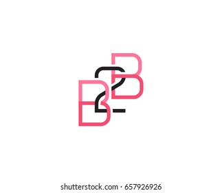 B2B, Business to business creative vector monogram logotype.