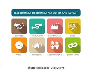B2B Business to Business Flat Icon Set