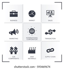 B2B BUSINESS TO BUSINESS ICON SET