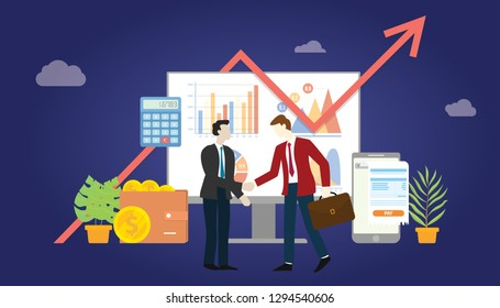 b2b business to business marketing deal agreement between two company with some graph and chart statistic data - vector illustration