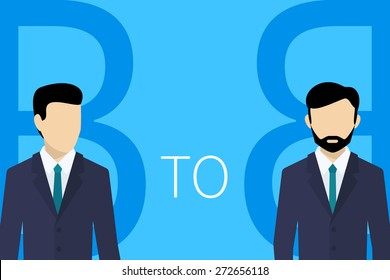 B2B business model concept illustration of two businessmans on blue background