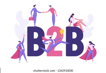B2B, Business to Business Partnership Collaboration Concept. Business People Characters Businessman, Superhero for Website, Presentation, Flyer, Poster. Flat Cartoon Vector Illustration