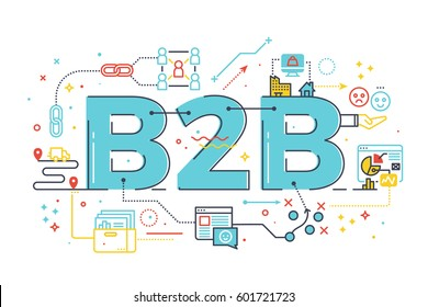 B2B : Business to business, word illustration for e-biz business concept. Design in modern style with related icons ornament concept for ui, ux, web, app banner design