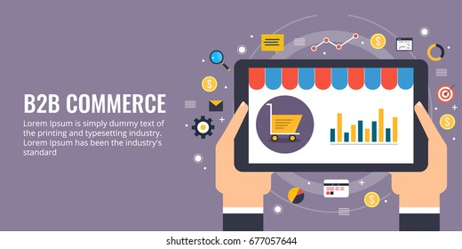 B2B commerce. sales analytics on tablet screen, hand holding smart device flat design vector banner with icons