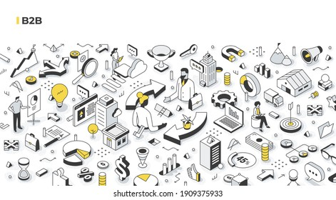 B2B concept. Business partners are making an agreement. Selling products and services to other businesses. Business-to-business marketing and cooperation. Isometric illustration concept