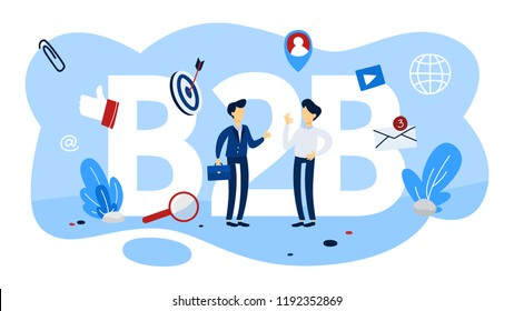 B2B concept. Business to business way of communication. Marketing strategy and commerce. Company as a customer. Flat vector illustration