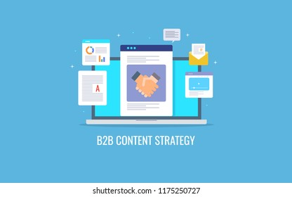 B2B content strategy, content for B2B audience, content marketing campaign  flat design vector illustration with icons