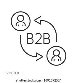 B2B icon, business enterprise, amendment employee direction, marketing company, partnership teamwork, thin line web symbol on white background - editable stroke vector illustration eps10