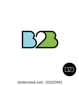 B2B letters logo. Linear style.