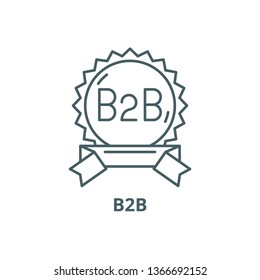 B2b line icon, vector. B2b outline sign, concept symbol, flat illustration