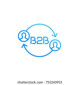 b2b logo, vector icon on white