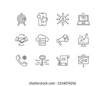 B2B marketing line icons set with account based, SMM, affiliate, backlinks, big data, call to action,  bounce rate, cold calls, keyword, copywriting.
