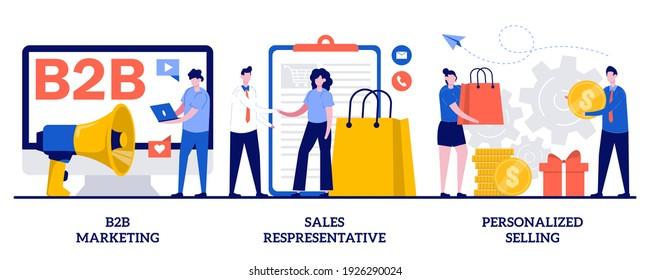 B2B marketing, sales representative, personalized selling concept with tiny people. Telemarketing vector illustration set. Digital campaign, sales agent, brand representative, enterprise metaphor.