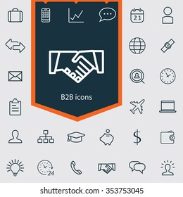 B2B outline, thin, flat, digital icon set for web and mobile