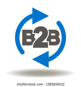B2B round arrows icon vector. Modern business to business process logo.