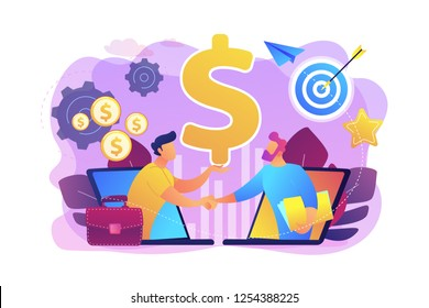 B2B sales person selling products and services to buyer in laptop. Business-to-business sales, B2B sales method, wholesale business trend concept. Bright vibrant violet vector isolated illustration