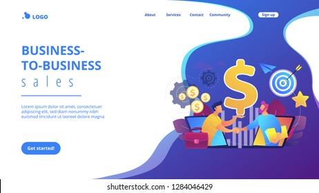 B2B sales person selling products and services to buyer in laptop. Business-to-business sales, B2B sales method, wholesale business trend concept. Website vibrant violet landing web page template.