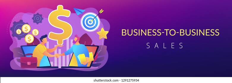 B2B sales person selling products and services to buyer in laptop. Business-to-business sales, B2B sales method, wholesale business trend concept. Header or footer banner template with copy space.