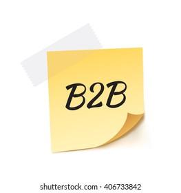 B2B Stick Note Vector Illustration