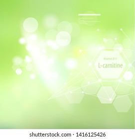 B8 Vitamin L-carnitine on an abstract background. Basics of a healthy diet. Medical vitamin B8 designation.