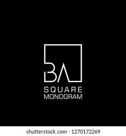 BA B A Logo design with square frame line art. vector illustration