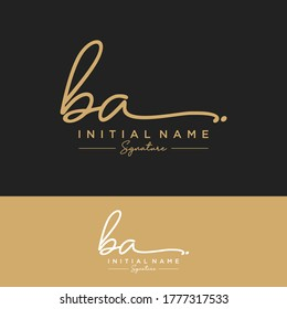 BA Initial letter handwriting and signature logo.