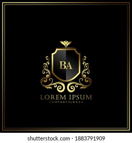 BA Initial Letter Luxury Logo template in vector art for Restaurant, Royalty, Boutique, Cafe, Hotel, Heraldic, Jewelry, Fashion and other vector illustration.