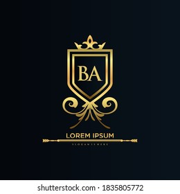 BA Letter Initial with Royal Template.elegant with crown logo vector, Creative Lettering Logo Vector Illustration.