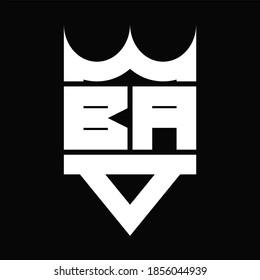 BA Logo monogram with crown shape isolated on Black background