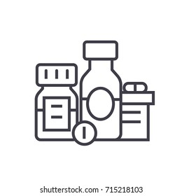 Baa, biologically active additives, pills, medicament flat line illustration, concept vector isolated icon on white background