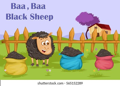 Baa Baa Black Sheep, Kids English Nursery Rhymes book illustration in vector