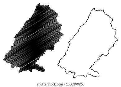 Baalbek-Hermel Governorate (Lebanese Republic, Governorates of Lebanon) map vector illustration, scribble sketch Baalbek Hermel map