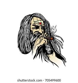 Baba having a smoke, Hand Drawn Sketch Vector illustration.