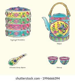 Baba Nyonya Porcelain ware illustration